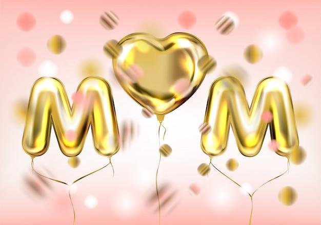 Ich liebe mutterplakat mit goldenem herzballon