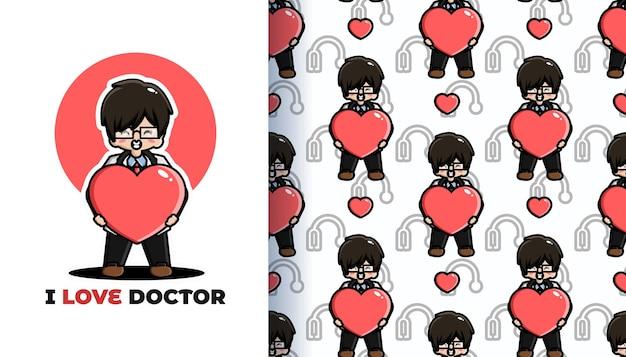 Ich liebe nahtloses muster des doktors