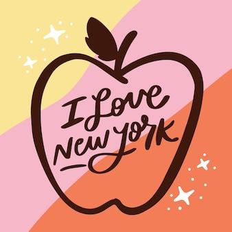 Ich liebe new york schriftzug konzept
