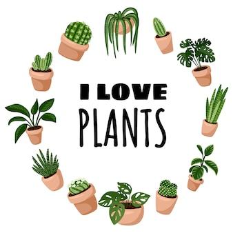 Ich liebe niedlichen kranzverzierungsentwurf der pflanzen-cartoonart.