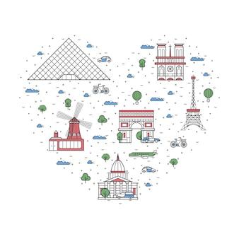 Ich liebe paris-plakat im linearen stil