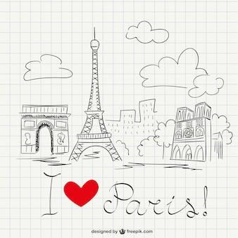 Ich liebe paris-skizze