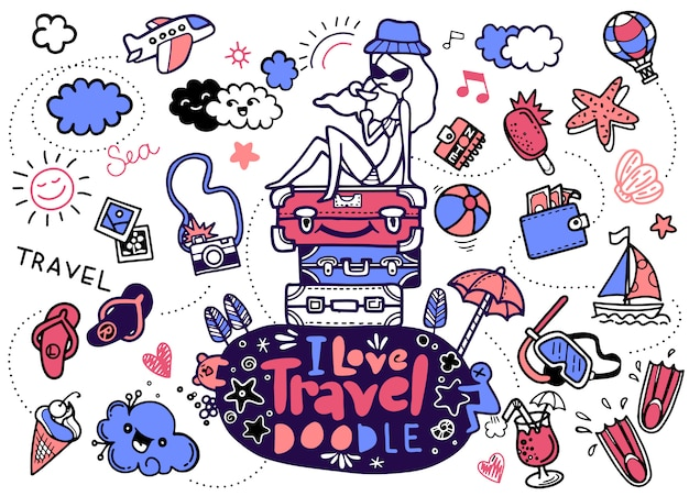 Ich liebe reise, illustration von gezeichneten ikonen der reise hand