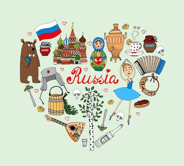 Ich liebe russland vektor herz illustration mit kulturellen ikonen