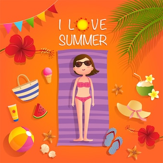 Ich liebe sommerillustration