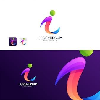 Ich logo internet-technologie digital