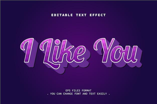 Ich mag dich texteffekt, bearbeitbaren text