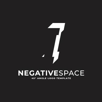 Ich schreibe negativen raum geometrische alphabet zeichen logo vektor icon illustration