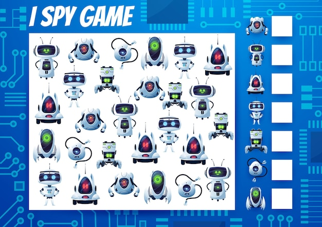 Ich spioniere kinderspiel, cartoon-roboter und droiden-rätsel. vektoraufgabe, bildungspuzzle mit ai-cyborgs. wie viele androiden und bots testen. entwicklung von rechenfähigkeiten und aufmerksamkeit, mathe-arbeitsblattseite