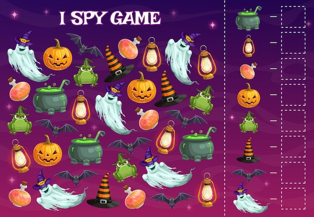Ich spioniere kinderspiel mit halloween-charakteren, puzzle