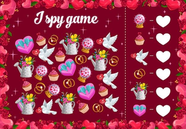 Ich spioniere kinderspiel mit valentinstaggegenständen, pädagogischem rätsel aus