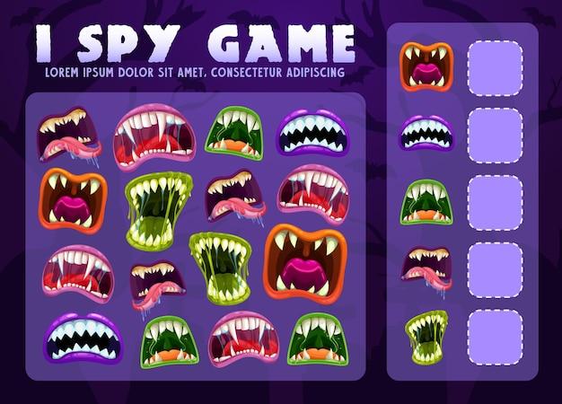 Ich spioniere lernspiel für kinder mit monstermäulern