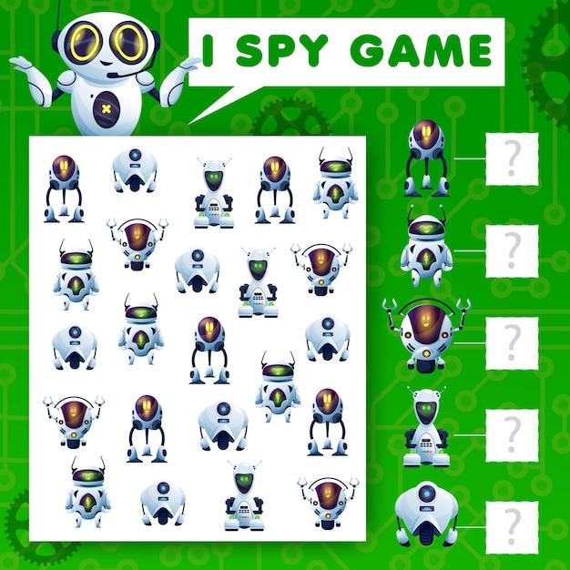 Ich spioniere rätselspiel, cartoon-roboter-kindervektoraufgabe aus