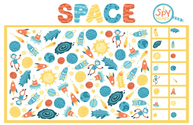 Ich spioniere spiel aus. space educational maze puzzle games, geeignet für spiele, buchdruck, apps, bildung. lustige einfache karikaturillustration auf einem weißen hintergrund