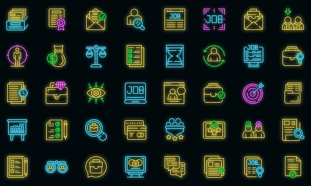 Ich suche job-icons set vektor neon