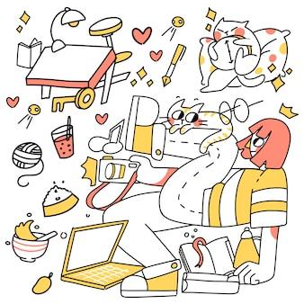 Ich, unordentlicher raum und mein zögerndes hobby hand gezeichnete abstrakte gekritzelillustration