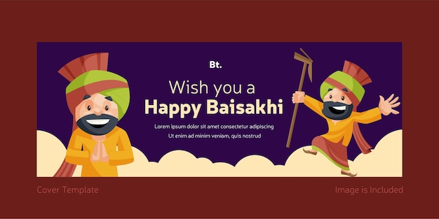 Ich wünsche ihnen ein glückliches baisakhi facebook cover design