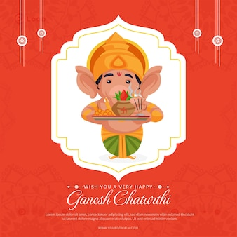 Ich wünsche ihnen eine sehr glückliche ganesh chaturthi banner-designvorlage