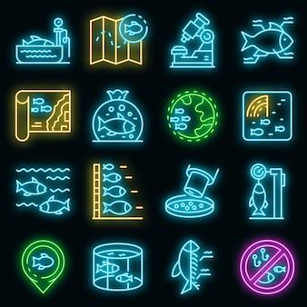 Ichthyologie-symbole gesetzt. umrisse von ichthyologie-vektorsymbolen neonfarbe auf schwarz