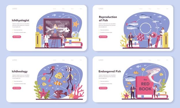 Ichthyologist web-banner oder landingpage-set
