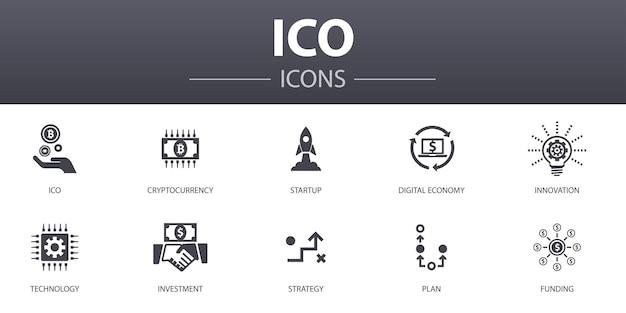 Ico einfache konzeptikonen eingestellt. enthält symbole wie kryptowährung, startup, digitale wirtschaft, technologie und mehr, kann für web, logo, ui/ux verwendet werden