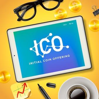 Ico initial coin bietet business internet-technologie. konzept auf einem bildschirm des tablettgeräts, illustration.