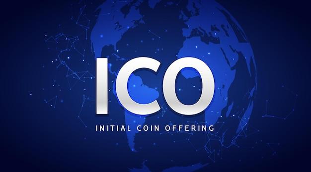Ico initial coin mit hintergrundillustration. blockchain-geschäft digitales ico-kryptounternehmen.