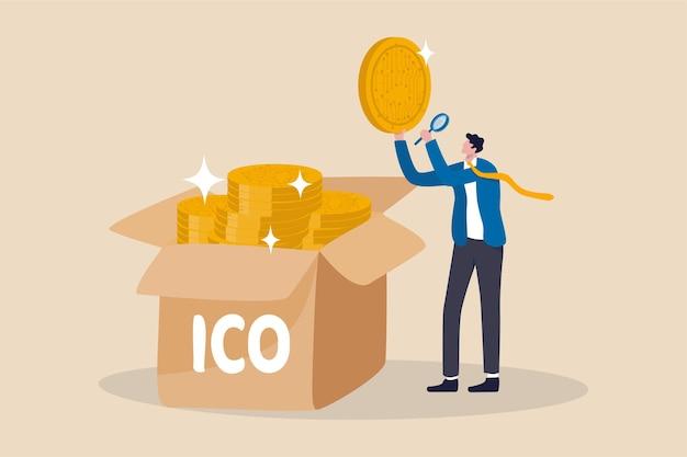 Ico, initial coin offering-prozess zur erstellung eines neuen kryptowährungstokens für den handel mit marktkonzepten, geschäftsmanninvestor oder münzschöpfer, der eine neue kryptowährungsmünze auswählt und details untersucht.