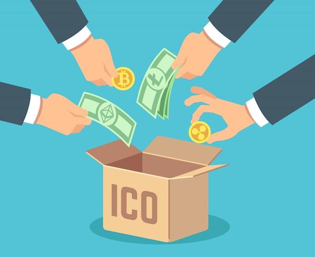 Ico. token bank, blockchain-technologie, ethereum und bitcoin-crowdfunding.