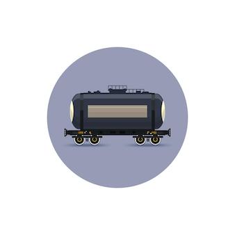 Icon eisenbahnwagen der tank für den transport von flüssigen und losen frachten, öl, flüssiggas, milch, zement, mehl, wasser, vektorillustration