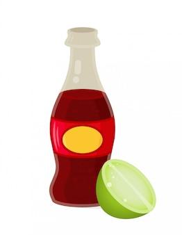 Icon element glasflasche mit frischem kohlensäurehaltigem wasser ohne alkohol eisgetränk mit grüner limette. flaches design der modernen artillustration.