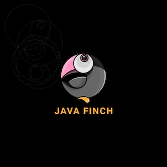 Icon logo java finch mit goldenem schnitt