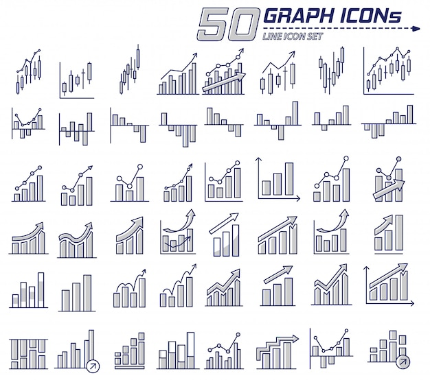 Icon pack-set von business-flache linie graphbar chart-symbol in vielen minimalistischen modernen stil