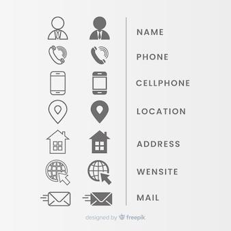 Icon-sammlung für visitenkarte