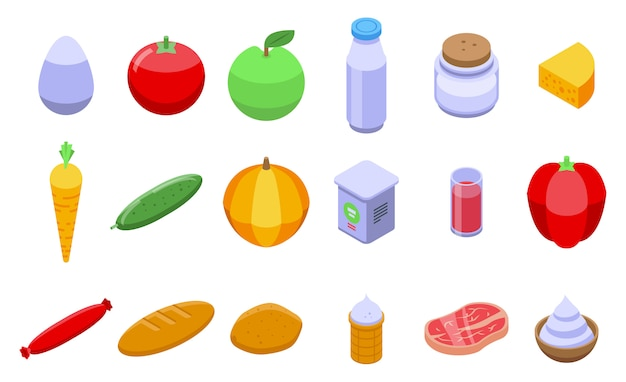 Icon-satz der landwirtschaftlichen produkte gesetzt, isometrischer stil