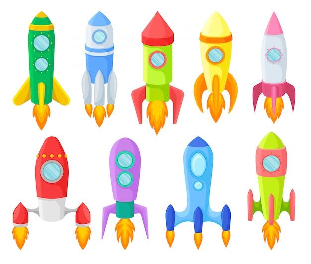 Icon-satz von mehrfarbigen kinderraketen. illustration.