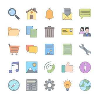 Icon-set der grundlegenden benutzeroberfläche für den persönlichen und kommerziellen gebrauch