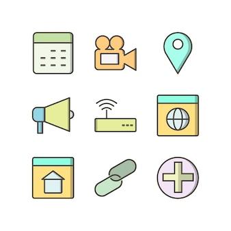 Icon set der grundlegenden benutzeroberfläche