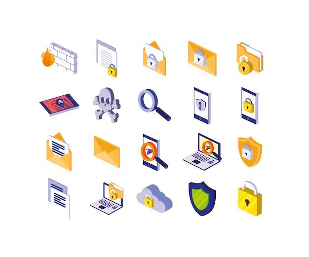 Icon-set des sicherheitssystems