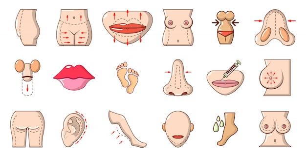 Icon-set für den menschlichen körper. karikatursatz der vektorikonensammlung des menschlichen körpers lokalisiert
