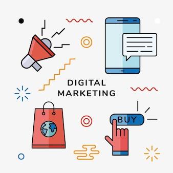 Icon-set für digitales marketing