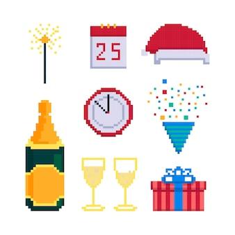 Icon-set für weihnachtsfeier isoliert auf weißem hintergrund vektor-illustration im pixel-art-stil