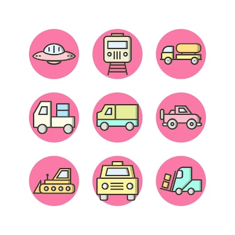 Icon set of transport für den persönlichen und kommerziellen gebrauch