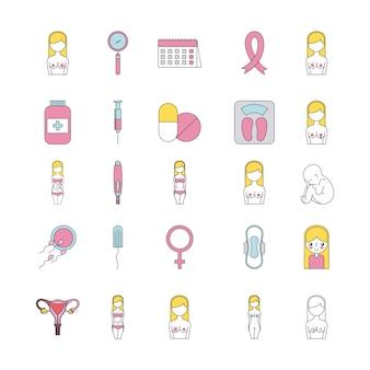 Icon set schwangerschaft cartoon