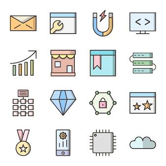 Icon set search engine optimization für den persönlichen und kommerziellen gebrauch
