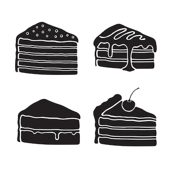 Icon-set silhouetten von kuchen mit creme-glasur-fondant-konfitüre und kirsche
