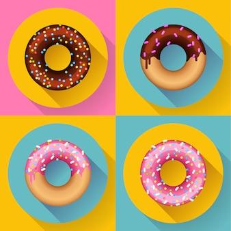 Icon set süße süße bunte schokoladen donuts. flach gestalteter stil.
