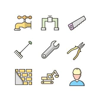 Icon set von bau für den persönlichen und kommerziellen gebrauch