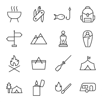 Icon-set von camping