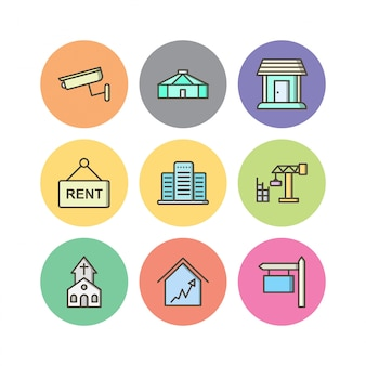 Icon set von immobilien für den persönlichen und kommerziellen gebrauch